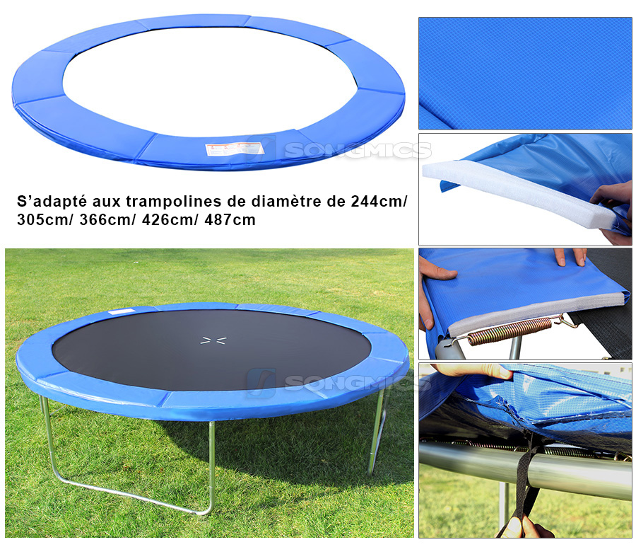 songmics 244 305 366 cm coussin de protection trampoline couverture ressort ebay. Black Bedroom Furniture Sets. Home Design Ideas