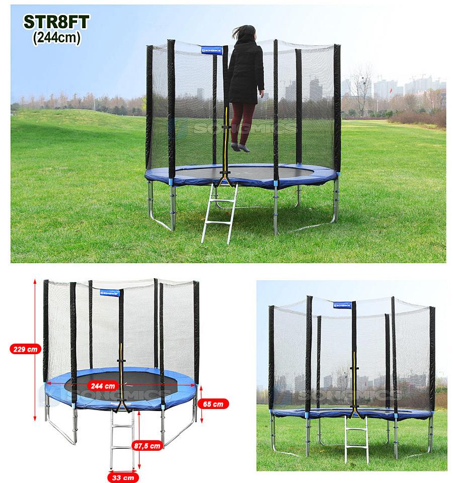 2 44 4 87m trampoline with safety enclosure net ladder jumping mat str ebay - Protection trampoline 244 ...