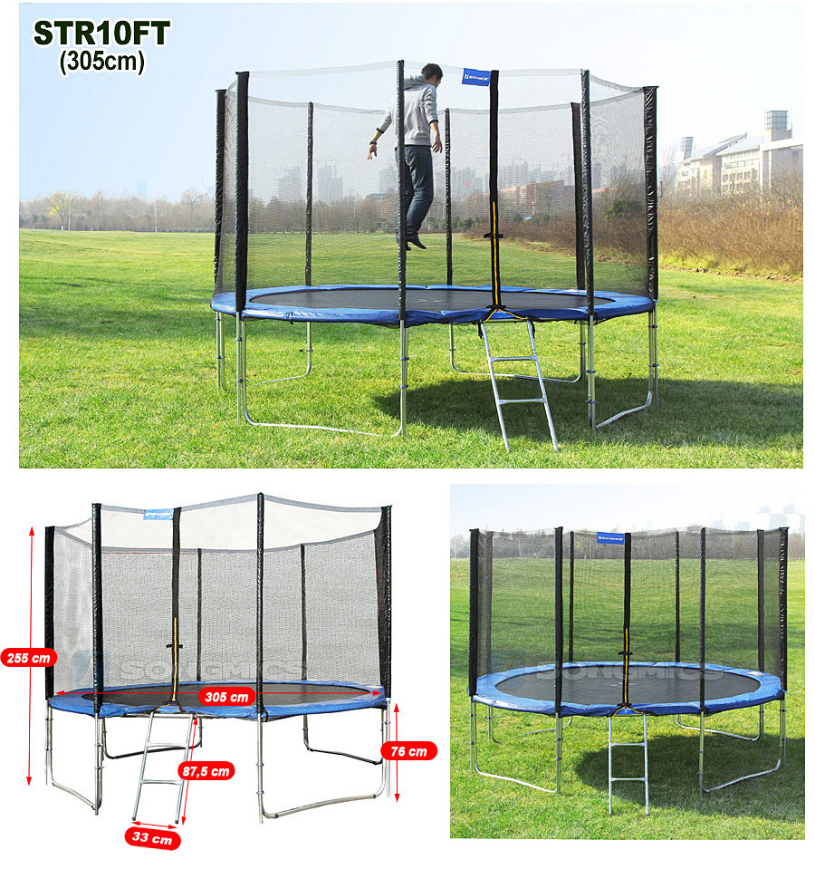 2 44 4 87m trampoline de jardin avec filet echelle coussin de protection str ebay. Black Bedroom Furniture Sets. Home Design Ideas
