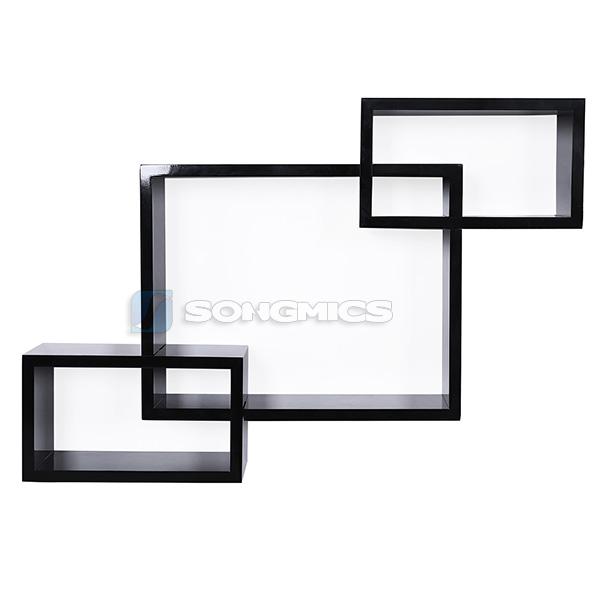 songmics set da 3 mensole scaffale cubo design libreria cd mensola libri ripiano ebay. Black Bedroom Furniture Sets. Home Design Ideas