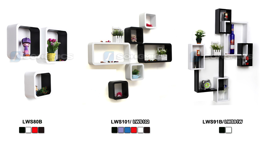 songmics 3er set wandregal h ngeregal b cherregal regal. Black Bedroom Furniture Sets. Home Design Ideas