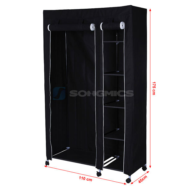 kleiderschrank faltschrank garderoben stoff schrank mit rollen 175cm lsf007l ebay. Black Bedroom Furniture Sets. Home Design Ideas