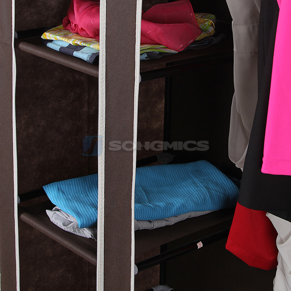 songmics kleiderschrank stoffschrank faltschrank campingschrank 175cm lsf03k ebay. Black Bedroom Furniture Sets. Home Design Ideas