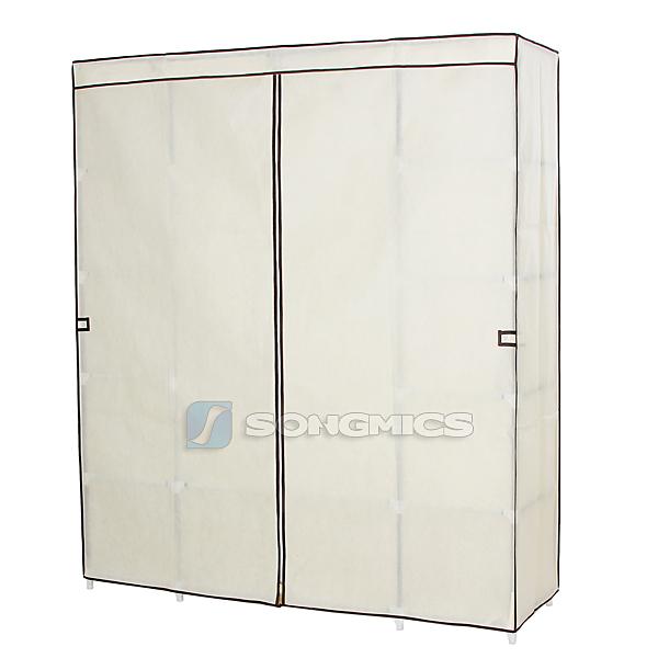 songmics armadio cabina guardaroba appendiabiti in acciaio tessuto 175x150x45cm ebay. Black Bedroom Furniture Sets. Home Design Ideas