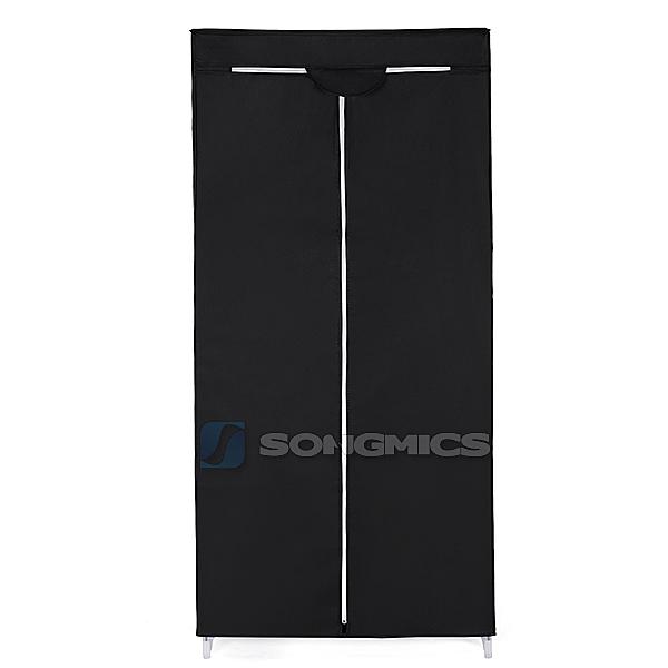 songmics armoire penderie en tissu meuble de rangement noir blanc 160cm ebay. Black Bedroom Furniture Sets. Home Design Ideas