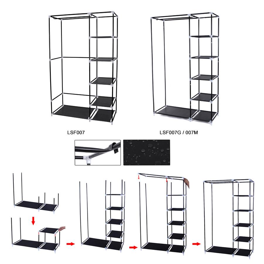 songmics xl 175 x 110 x 45cm armoire penderie meuble de rangement 4 couleur ebay. Black Bedroom Furniture Sets. Home Design Ideas