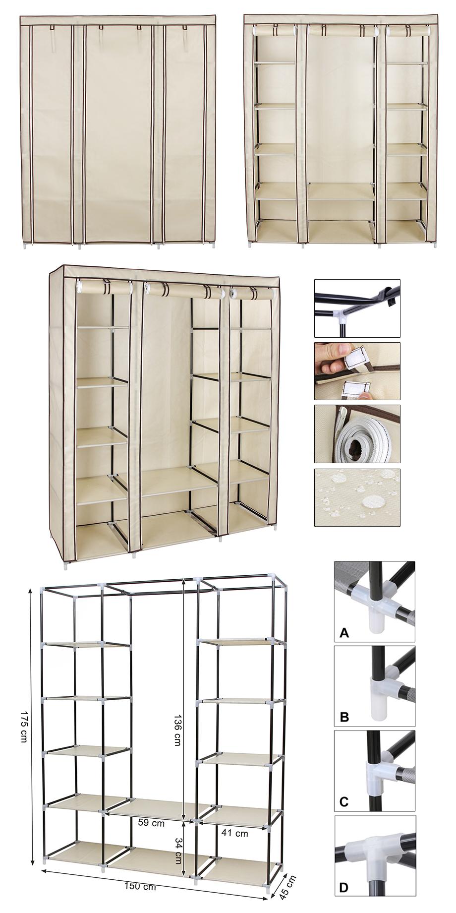 kleiderschrank stoffschrank faltschrank wohnzimmer. Black Bedroom Furniture Sets. Home Design Ideas