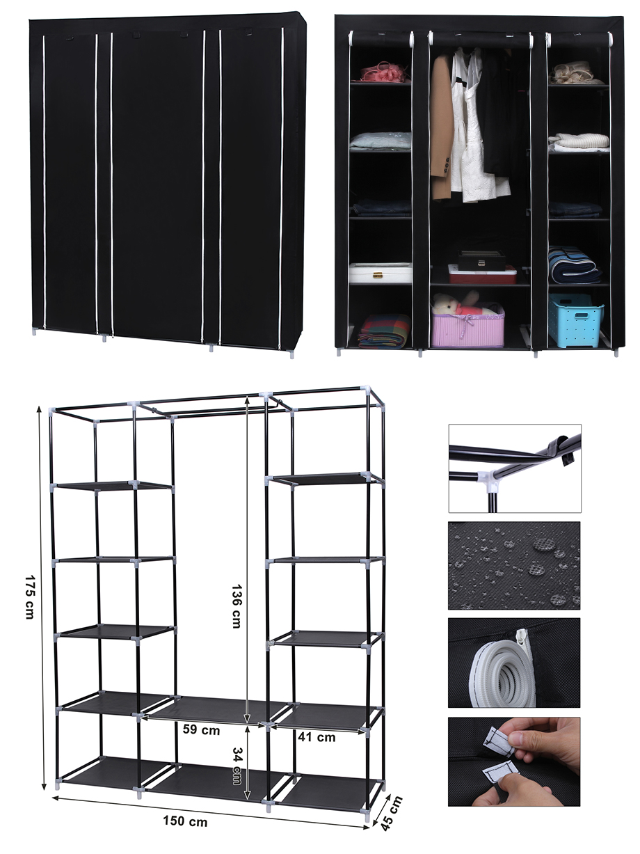Songmics Xxl Canvas Clothes Wardrobe Cupboard Shelves