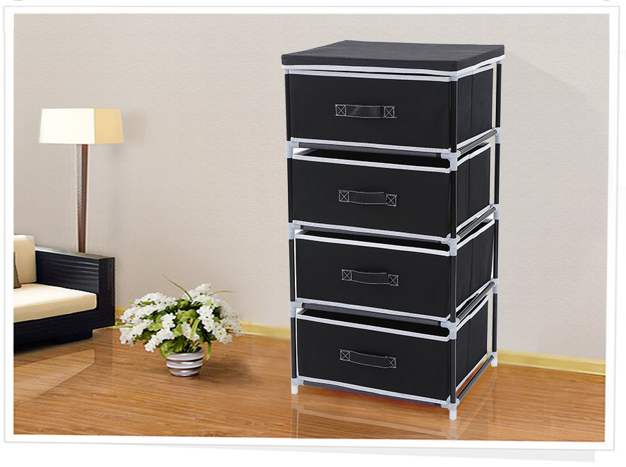 schubladenschrank faltschrank mit4 schubladen aufbewahrung schrank schwar rlg14h ebay. Black Bedroom Furniture Sets. Home Design Ideas