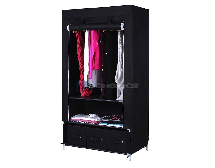 Canvas Storage Boxes For Wardrobes: Songmics Canvas Wardrobe Clothes Storage Cupboard Shelves