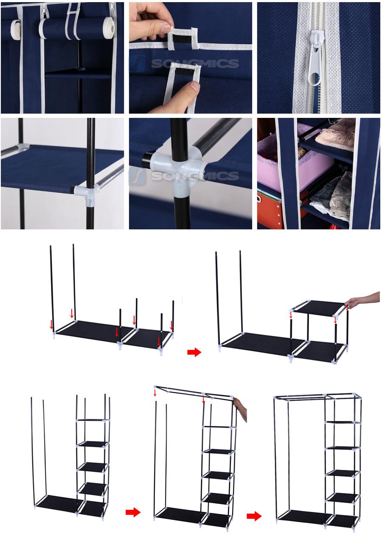 songmics xl faltschrank kleiderschrank schrank garderobenschrank w scheschrank ebay. Black Bedroom Furniture Sets. Home Design Ideas