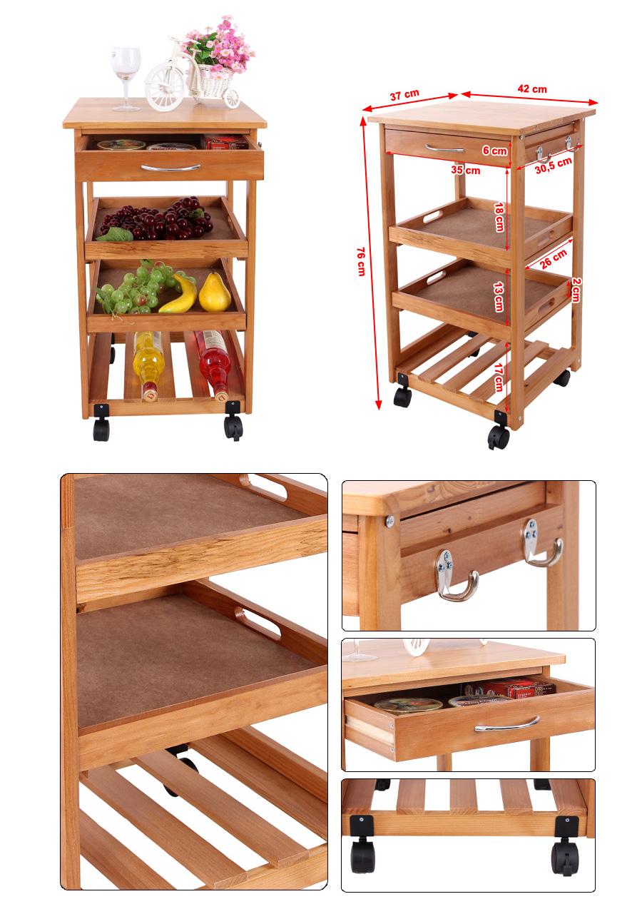 songmics kitchen trolley dining cart storage drawers. Black Bedroom Furniture Sets. Home Design Ideas