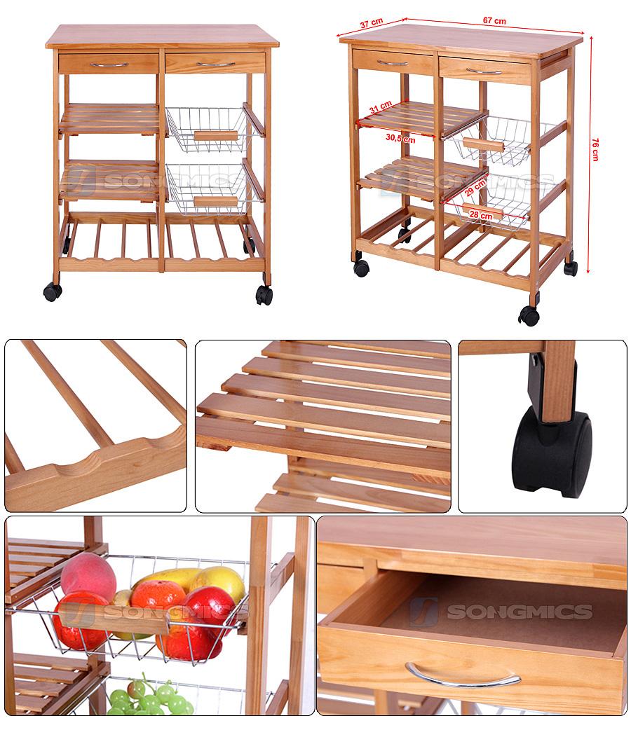 songmics k chenwagen servierwagen beistellwagen rollwagen k chenregal ksk ebay. Black Bedroom Furniture Sets. Home Design Ideas