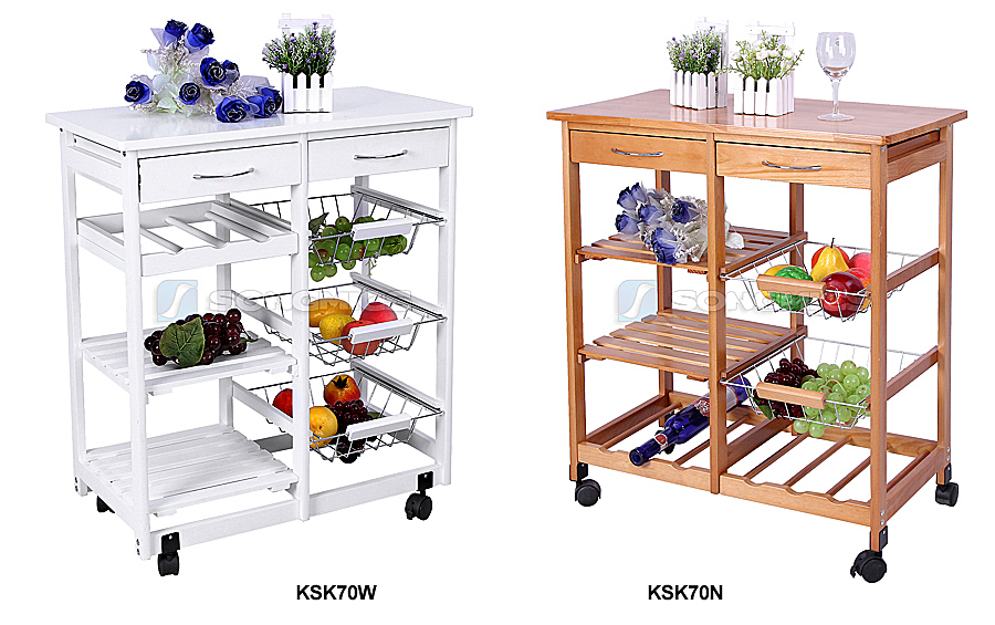 Kitchen Trolley Dining Cart With Wheels Storage Drawers