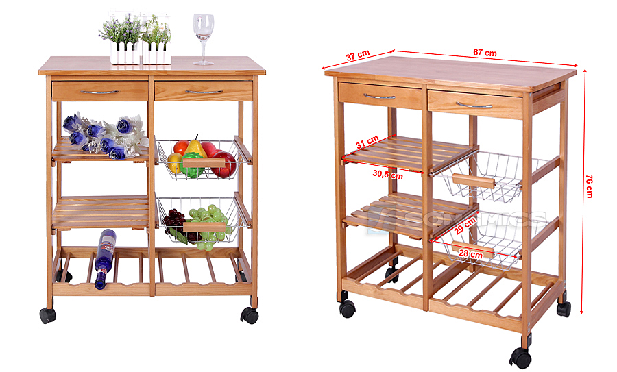 Kitchen Trolley Dining Cart With Wheels Storage Drawers Shelves Metal Baskets Ebay