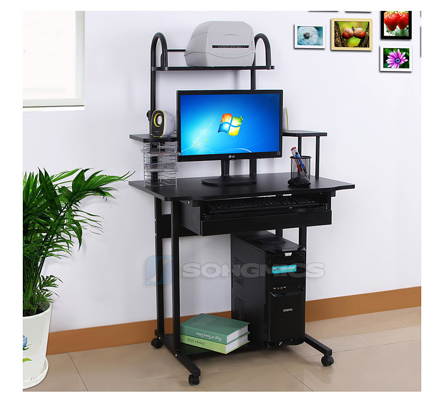 songmics bureau informatique meuble de bureau pour ordinateur pc laptop lcd778b ebay. Black Bedroom Furniture Sets. Home Design Ideas
