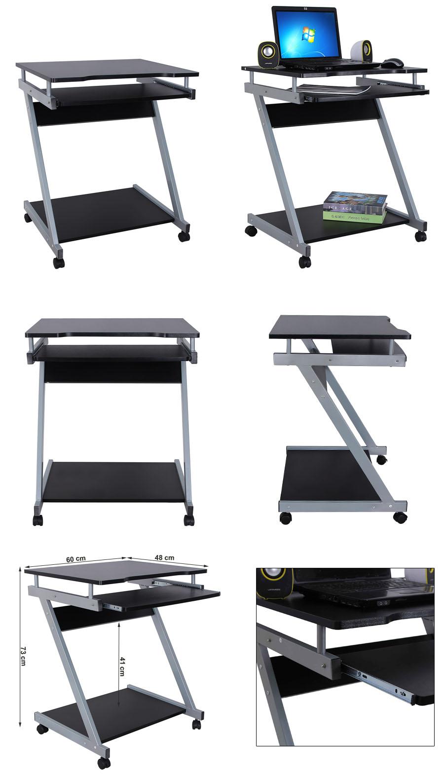 schreibtisch b rotisch computertisch computerwagen pc tisch auf rollen lcd811b ebay. Black Bedroom Furniture Sets. Home Design Ideas