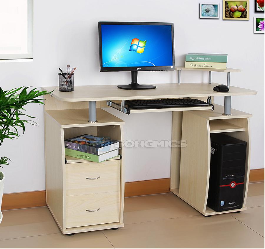 Computertisch schreibtisch b rotisch mdf ahornfarben 115 x for Schreibtisch ausfahrbar