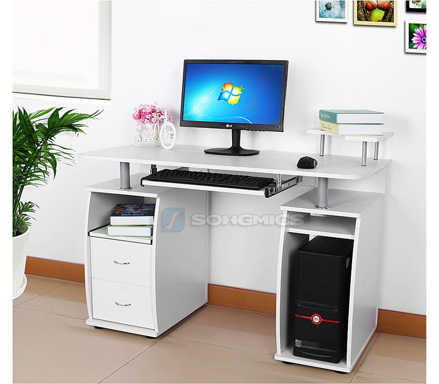 songmics mdf bureau informatique table pc ordinateur meuble clavier lcd861w ebay. Black Bedroom Furniture Sets. Home Design Ideas