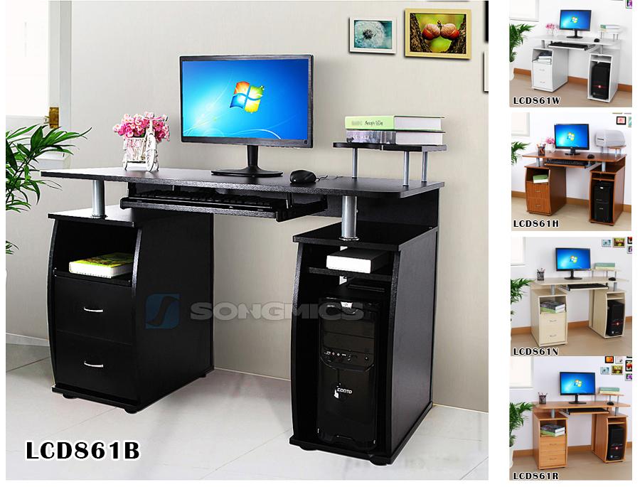 songmics mdf bureau informatique table pc ordinateur meuble clavier ebay. Black Bedroom Furniture Sets. Home Design Ideas