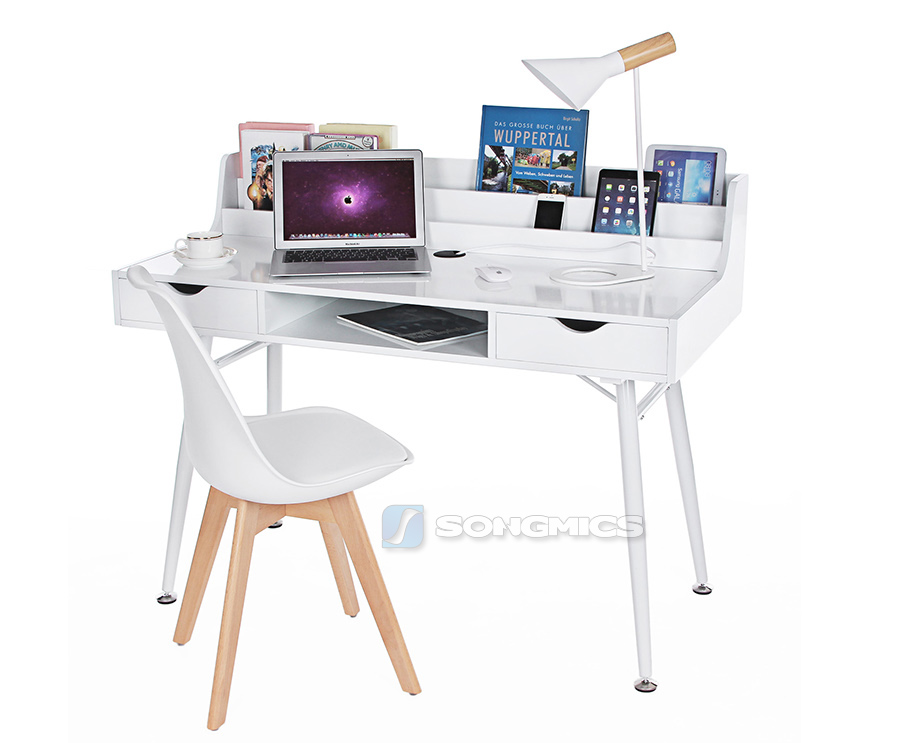 songmics mdf schreibtisch schminktisch computertisch mit schublade wei lcd562w ebay. Black Bedroom Furniture Sets. Home Design Ideas