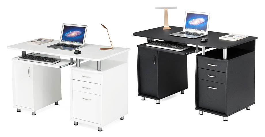 songmics bureau informatique table informatique meuble de bureau pour ordinateur ebay. Black Bedroom Furniture Sets. Home Design Ideas