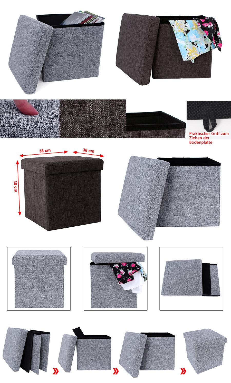 38x38x38 cm new foldable folding storage ottoman pouffe seat stool chest toy box ebay