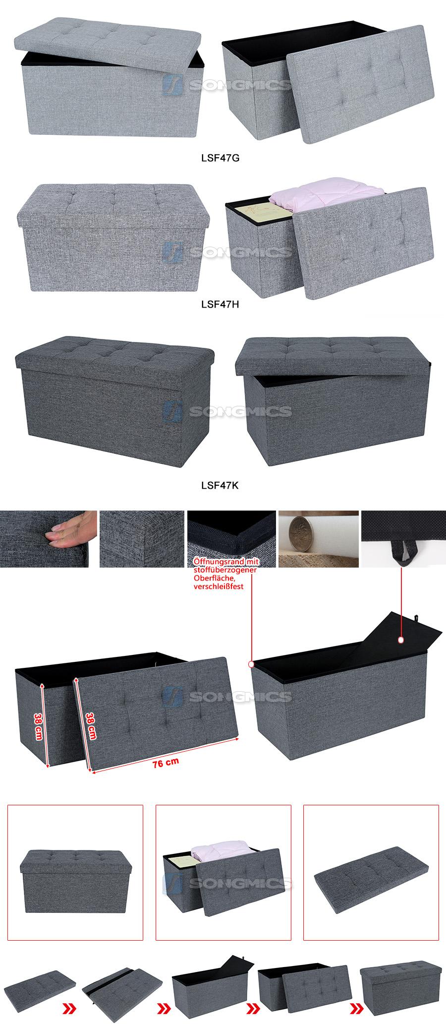 songmics pouf cubo poggiapiedi contenitore sgabello pieghevole tessuto di lino ebay. Black Bedroom Furniture Sets. Home Design Ideas