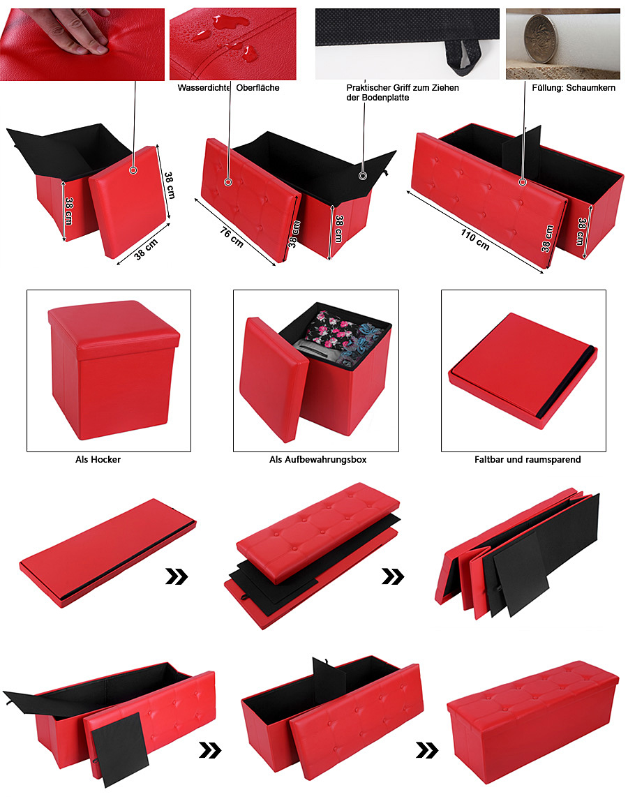 songmics sitzhocker aufbewahrungsbox sitzw rfel polsterhocker spielzeugtruhe ebay. Black Bedroom Furniture Sets. Home Design Ideas