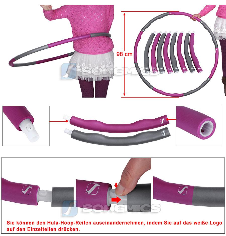 hula hoop fitness reifen abnehmen gymnastik massagenoppen magnetic hoop ebay. Black Bedroom Furniture Sets. Home Design Ideas