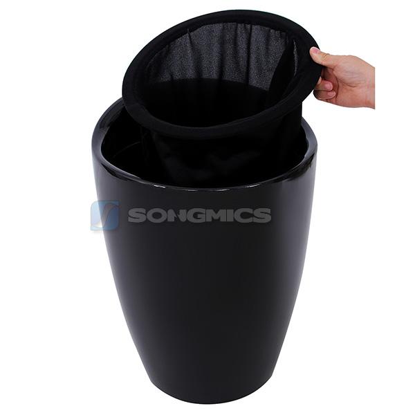songmics tabouret de douche rangement pouf un avec sac amovible plastique rond ebay. Black Bedroom Furniture Sets. Home Design Ideas