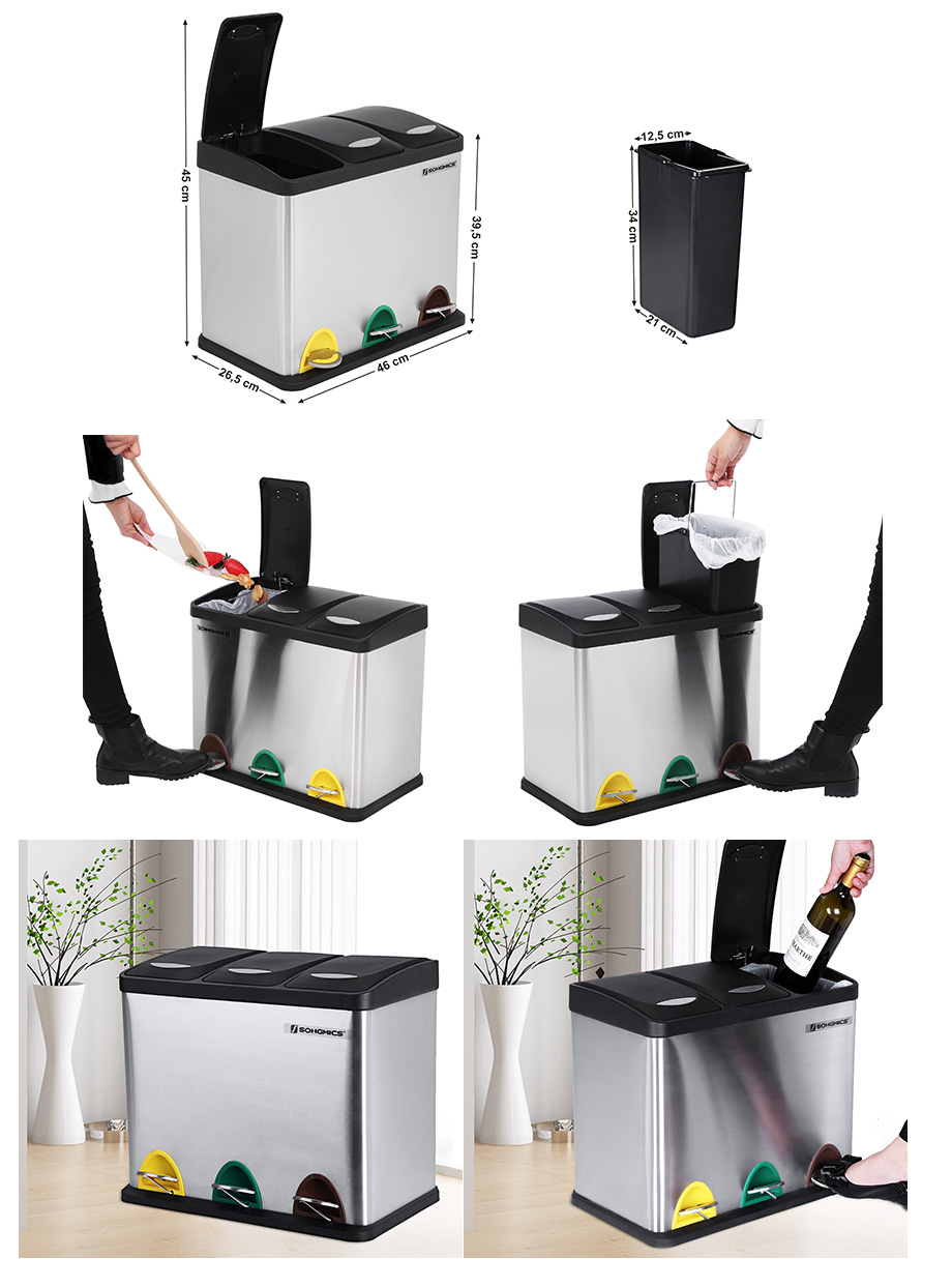 24l edelstahl recycling m lleimer m lltrenner abfalleimer. Black Bedroom Furniture Sets. Home Design Ideas
