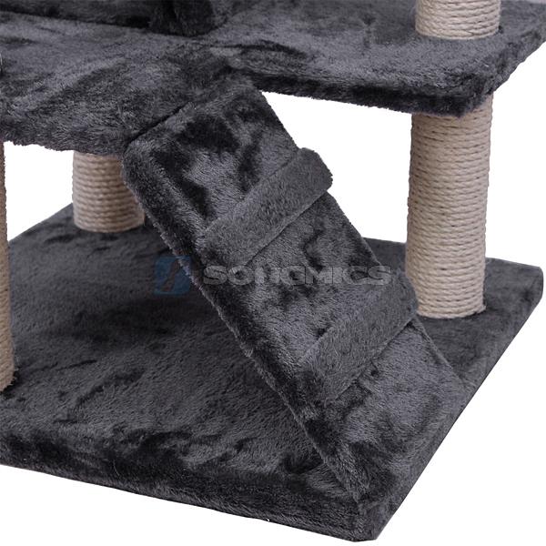 songmics tiragraffi gatto albero tira graffi gioco giacattolo gatti beige grigio ebay. Black Bedroom Furniture Sets. Home Design Ideas