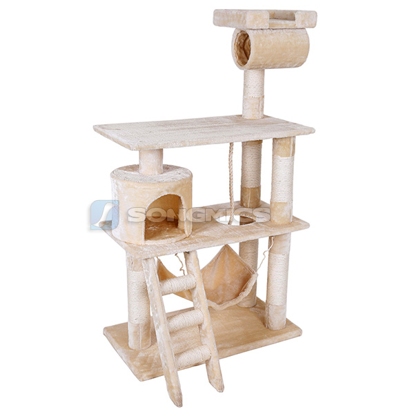 kratzbaum katzenbaum mit h ngematte h hle liegemulden spielseil 140cm grau beige ebay. Black Bedroom Furniture Sets. Home Design Ideas