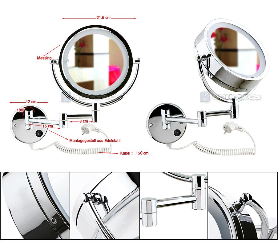 wandspiegel standspiegel kosmetikspiegel schminkspiegel led beleuchtet 7 10 fach ebay. Black Bedroom Furniture Sets. Home Design Ideas