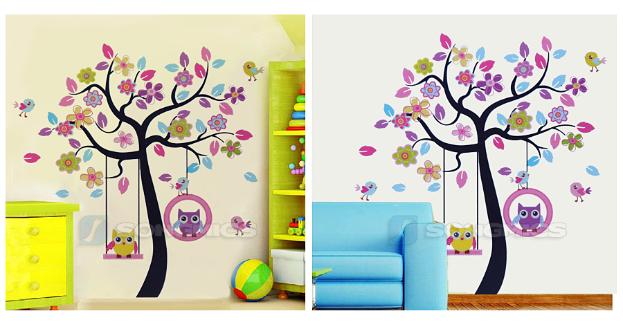 songmics wandtattoo eule auf schaukel baum kinderzimmer deko wandsticker fwt009. Black Bedroom Furniture Sets. Home Design Ideas