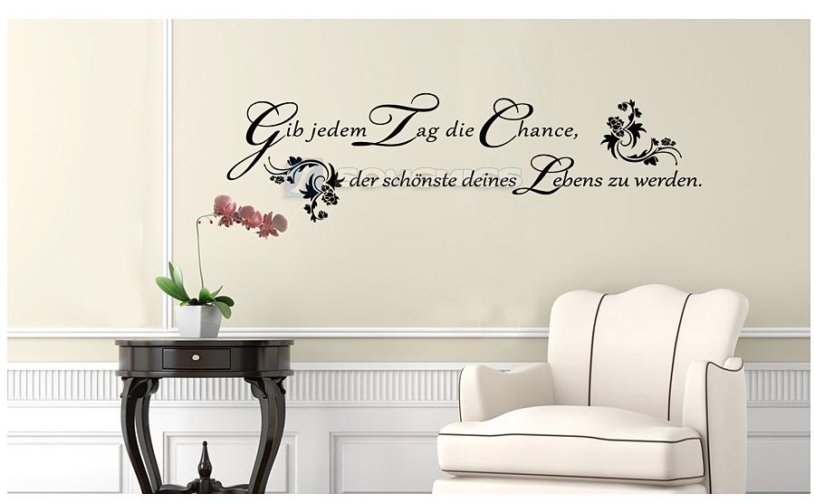 wandtattoo spr che gib jedem tag zitat schlafzimmer wandaufkleber 1 2m fwt01h ebay. Black Bedroom Furniture Sets. Home Design Ideas