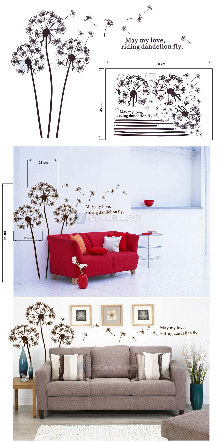 songmics l wenzahn pusteblume wandtattoo wandaufkleber schlafzimmer braun fwt03k ebay. Black Bedroom Furniture Sets. Home Design Ideas