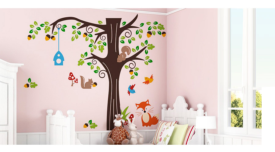 cartoon waldtiere kinderzimmer wandaufkleber wandtattoo baum wandsticker fwt04c ebay. Black Bedroom Furniture Sets. Home Design Ideas