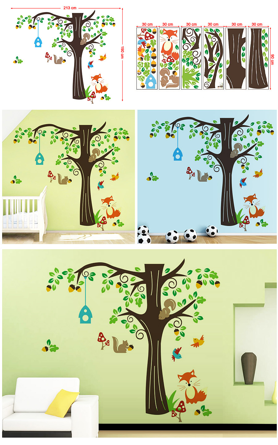 songmics cartoon waldtiere kinderzimmer wandaufkleber wandtattoo baum fwt04c. Black Bedroom Furniture Sets. Home Design Ideas