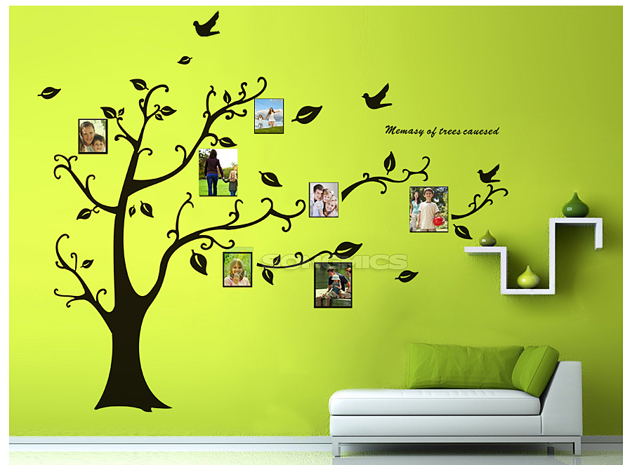 170x210cm gro bilderrahmen baum wandtattoo fotorahmen wandaufkleber fwt04h ebay. Black Bedroom Furniture Sets. Home Design Ideas