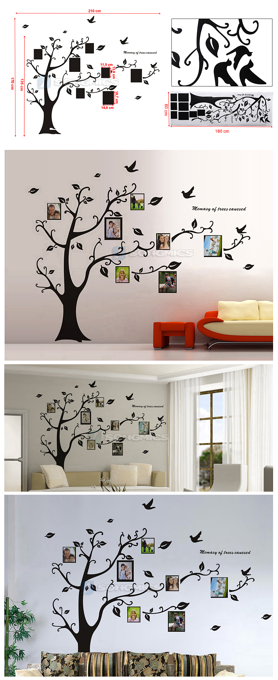 xxl wandtattoo baum v gel foto bilderrahmen wandaufkleber wohnzimmer gro fwt04h ebay. Black Bedroom Furniture Sets. Home Design Ideas