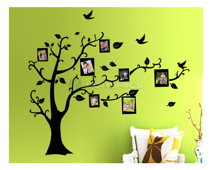 wandtattoo bilderrahmen vogel baum fotorahmen wandaufkleber wandsicker fwt05r ebay. Black Bedroom Furniture Sets. Home Design Ideas