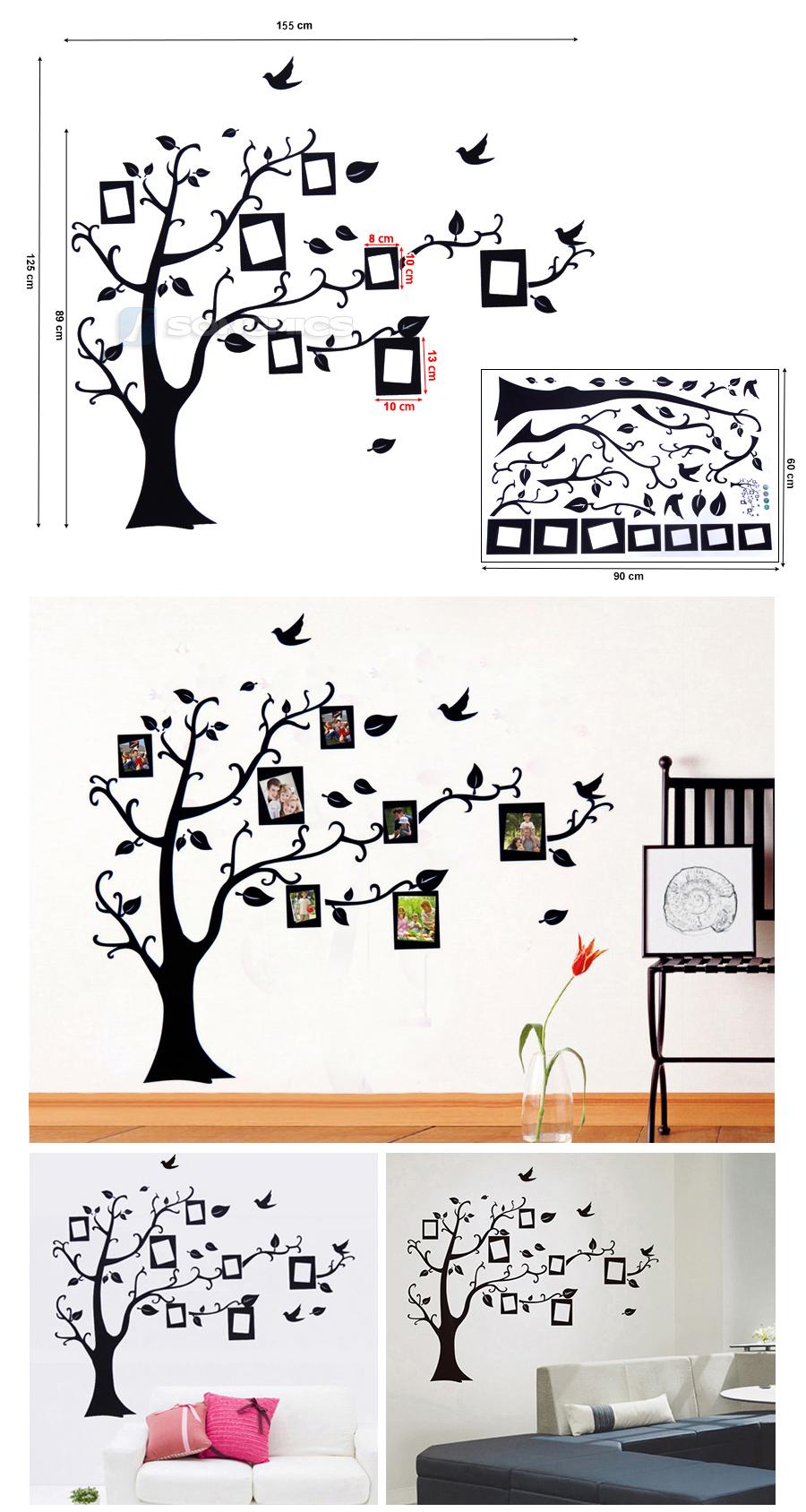 wandtattoo bilderrahmen vogel baum fotorahmen wandaufkleber wandsticker fwt05r ebay. Black Bedroom Furniture Sets. Home Design Ideas