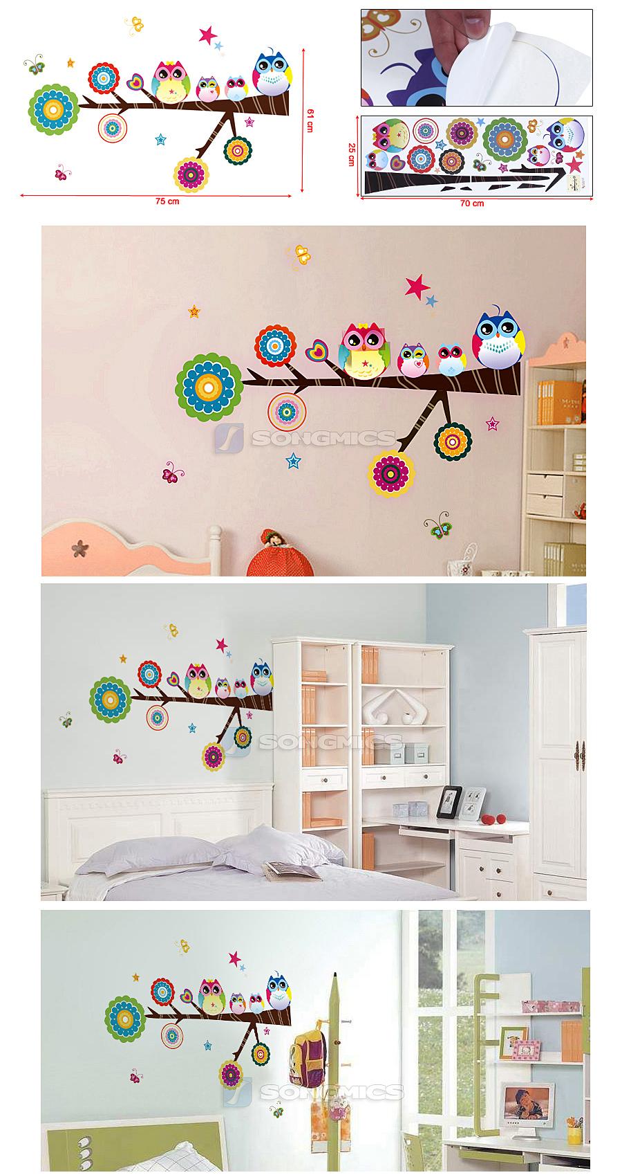 wandaufkleber eule familie baum schmetterlinge wandtattoo wandsticker fwt10c ebay. Black Bedroom Furniture Sets. Home Design Ideas