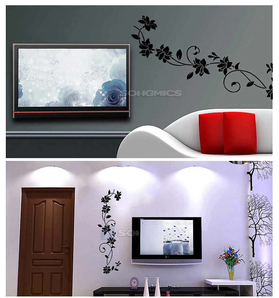 sch ne hibiskus blume wandaufkleber pflanze blumenranke vinyl wandtattoo fwt11h. Black Bedroom Furniture Sets. Home Design Ideas