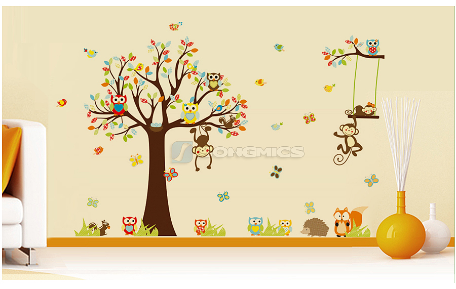 wandtattoo wandsticker kinderzimmer xxl deko tiere kinder wald affe baum baby12c ebay. Black Bedroom Furniture Sets. Home Design Ideas