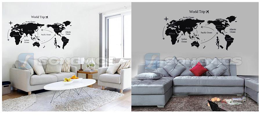 weltkarte wandtattoo world welt map wandsticker wandaufkleber wohnzimmer fwt12h ebay. Black Bedroom Furniture Sets. Home Design Ideas