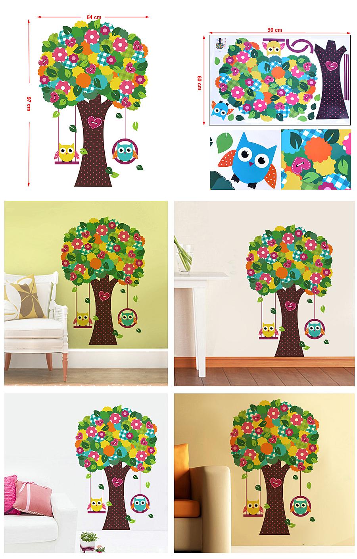 songmics eule wandtattoo wandaufkleber blumen baum vogel wanddekoration fwt15c ebay. Black Bedroom Furniture Sets. Home Design Ideas