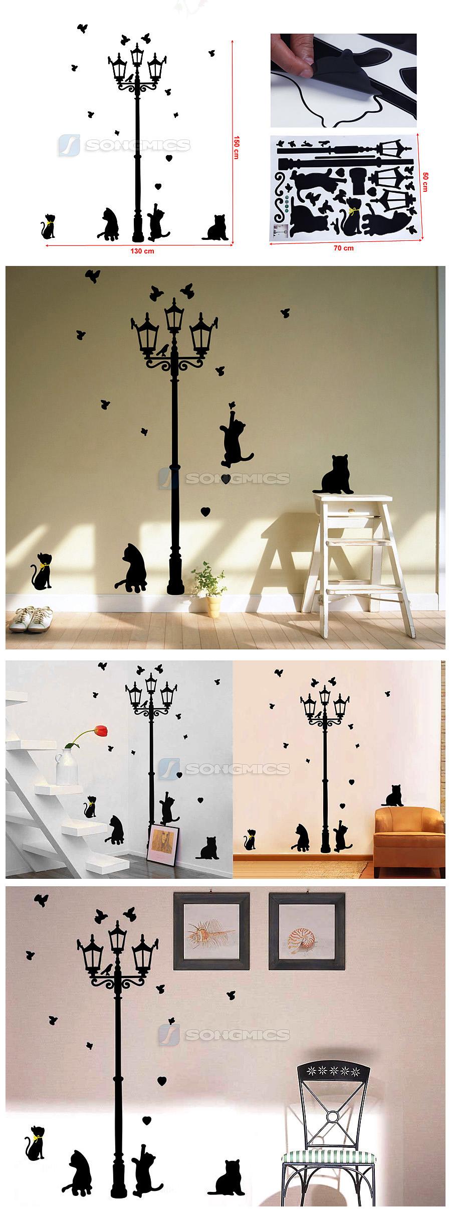 laterne katze wandaufkleber wandtattoo wohnzimmer schlafzimmer schwarz fwt15h. Black Bedroom Furniture Sets. Home Design Ideas